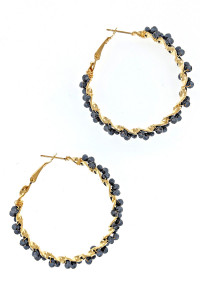 S1-4-4-LBE2323GR GREY BEADED HOOP FASHION EARRINGS/3PAIRS