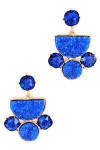 S1-4-4-LBE2327BL BLUE DRUZY STONE FASHION EARRINGS/3PAIRS