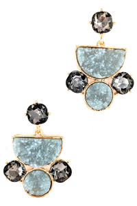S1-4-4-LBE2327GR GREY DRUZY STONE FASHION EARRINGS/3PAIRS