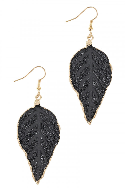 S1-7-3-LBE2334BK BLACK LEAF DROP FASHION EARRINGS/3PAIRS