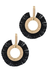 S1-6-4-LBE2346BK BLACK TASSEL GOLD METAL HOOP EARRINGS/3PAIRS