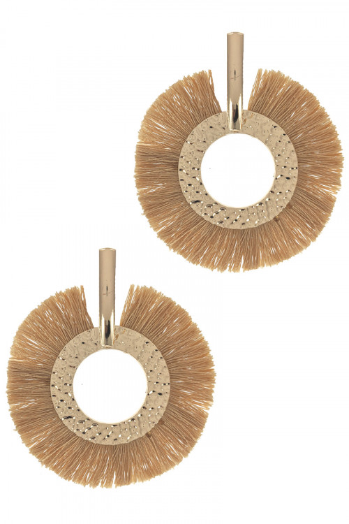 S1-6-4-LBE2346CF NATURAL TASSEL GOLD HOOP EARRINGS/3PAIRS