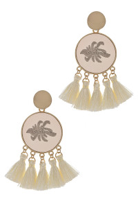 S1-7-2-LBE2347BE BEIGE ROUND EMBROIDERY TASSEL EARRINGS/3PAIRS