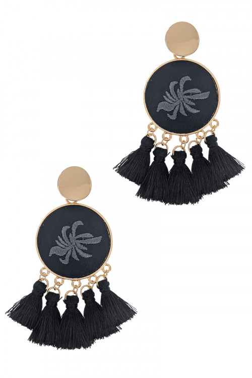 S1-7-2-LBE2347BK BLACK ROUND EMBROIDERY TASSEL EARRINGS/3PAIRS