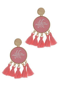 S1-8-4-LBE2347RS ROSE ROUND EMBROIDERY TASSEL EARRINGS/3PAIRS