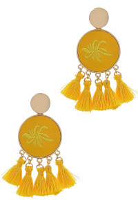 S1-8-4-LBE2347YE YELLOW ROUND EMBROIDERY TASSEL EARRINGS/3PAIRS