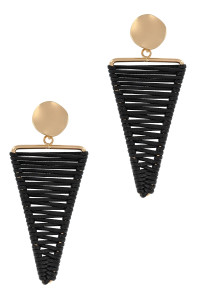 S1-8-4-LBE2350BK BLACK HANDMADE LEATHER THREAD TRIANGLE EARRINGS/3PAIRS