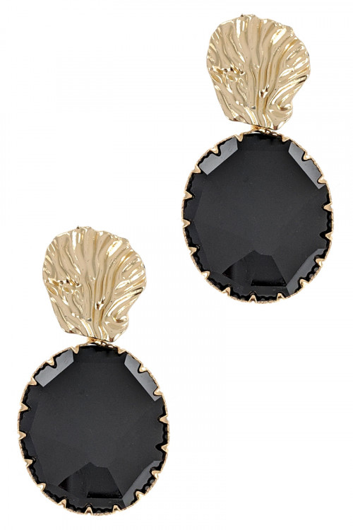 S1-1-1-LBE2357BK BLACK GOLD SHELL WITH BLACK ROUND GLASS DROP EARRINGS/3PAIRS