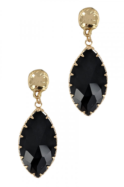 S1-5-2-LBE2358BK BLACK GLASS TEAR DROP FASHION EARRINGS/3PAIRS