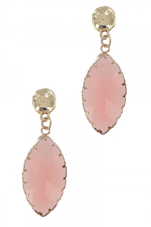 S1-5-2-LBE2358PK PINK GLASS TEAR DROP FASHION EARRINGS/3PAIRS