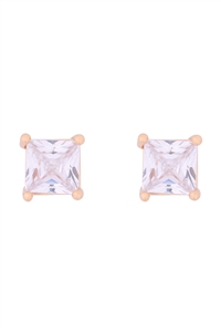 S1-4-3-E279-G - ORG 6MM SQUARE CUBIC ZIRCONIA STUD EARRINGS-GOLD/6PCS