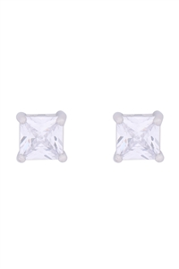 S1-5-2-E279-S - 6MM SQUARE CUBIC ZIRCONIA STUD EARRINGS-SILVER/6PCS