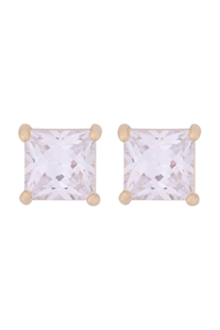 S1-4-3-E280-G - ORG 7MM SQUARE CUBIC ZIRCONIA STUD EARRINGS - GOLD/6PCS