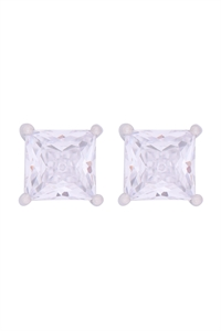 S1-4-3-E280-S -  7MM SQUARE CUBIC ZIRCONIA STUD EARRINGS - SILVER/6PCS