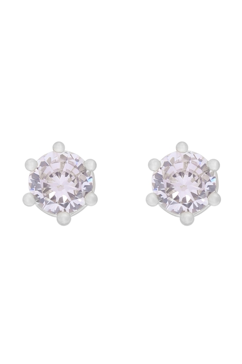 S1-4-4-E300-S - 5MM SILVER CUBIC ZIRCONIA STUD EARRINGS/6PCS
