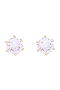 S1-5-2-E302-G - ORG 7MM ROUND CUBIC ZIRCONIA STUD EARRINGS - GOLD/6PCS