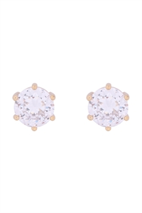 S1-5-2-E303-G - ORG 8MM ROUND CUBIC ZIRCONIA STUD EARRINGS - GOLD/6PCS