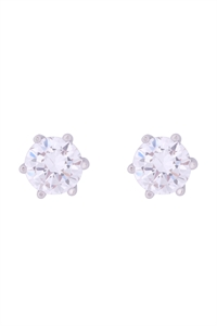 S1-5-2-E303-S - 8MM ROUND CUBIC ZIRCONIA STUD EARRINGS - SILVER/6PCS