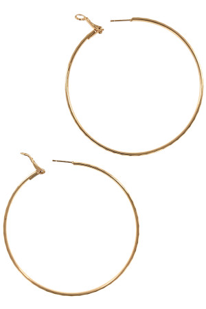 S1-2-4-LBE3048GD 70MM GOLD HOOP FASHION EARRINGS/6PAIRS