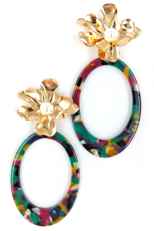 S1-1-4-LBE3122BKMU GOLD FLOWER PEARL WITH MULTICOLOR HOOP FASHION EARRINGS/3PAIRS