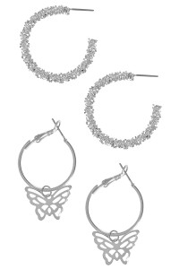 S1-4-1-LBE3205 DOUBLE PAIR SILVER HOOP EARRINGS/3PAIRS