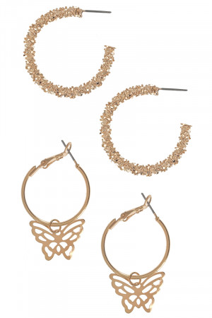 S1-1-5-LBE3205GD DOUBLE PAIR GOLD HOOP EARRINGS/3PAIRS