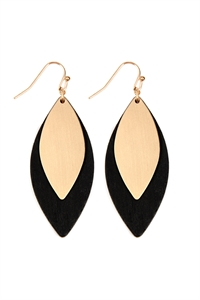 S25-6-4-E6794GD-BK - SATIN METAL WOOD EARRINGS - GOLD BLACK/6PCS
