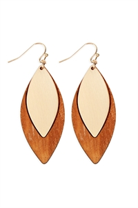 S25-6-4-E6794GD-BRW - SATIN METAL WOOD EARRINGS - GOLD BROWN/6PCS