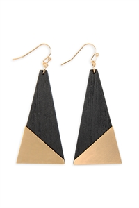 S25-6-2-E6796GD-BK - SATIN METAL WOOD GEOMETRIC EARRINGS - GOLD BLACK/6PCS