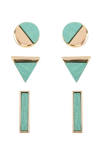 S24-1-4-E6827GDTQS - CIRCLE TRIANGLE BAR STUD EARRINGS SET - TURQUOISE/6PCS