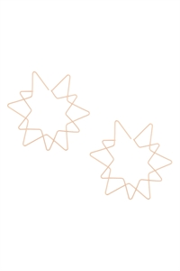 S24-1-3-E6876GD - STAR WIRE HOOP EARRINGS-GOLD/6PCS