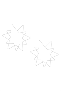 S24-1-3-E6876RD - STAR WIRE HOOP EARRINGS-SILVER/6PCS