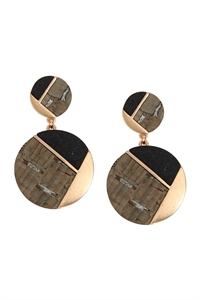 S22-9-2/S22-11-5-E6887GD-GRY - CORK WOOD METAL GEOMETRIC CIRCLE POST EARRINGS - GRAY/6PAIRS
