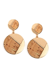 S22-9-2/S22-11-5-E6887GD-LBR - CORK WOOD METAL GEOMETRIC CIRCLE POST EARRINGS - LIGHT BROWN/6PAIRS