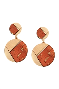 S22-9-2/S22-11-5-E6887GD-ORG - CORK WOOD METAL GEOMETRIC CIRCLE POST EARRINGS - ORANGE/6PAIRS
