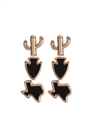 S17-12-5-E6902GD-BK- 3 SET TEXAS MAP CACTUS STUD POST EARRINGS-BLACK/6PCS