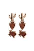 S17-12-5-E6902GD-BRW- 3 SET TEXAS MAP CACTUS STUD POST EARRINGS-BROWN/6PCS