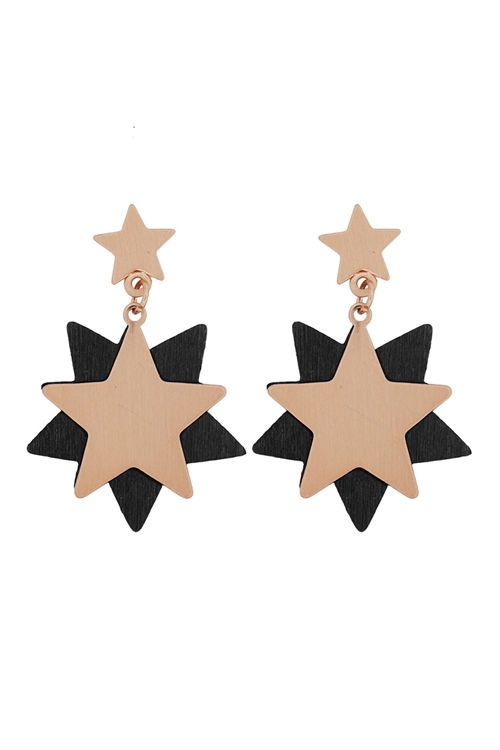 S-22-12-5-E6919BK -STARRY WOOD DANGLE POST EARRINGS-BLACK GOLD/6PCS