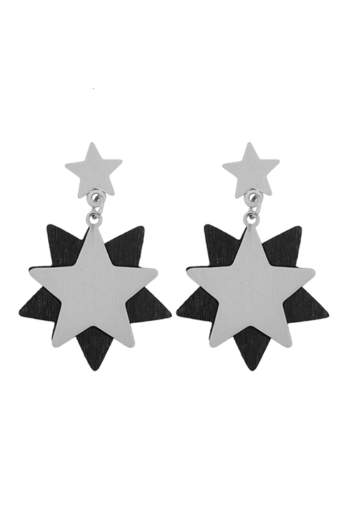 S-22-12-5-E6919SV-BK -STARRY WOOD DANGLE POST EARRINGS-SILVER BLACK/6PCS