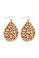 S22-2-4-E6922BRW-LEOPARD FILIGREE WOOD EARRINGS-BROWN/6PCS