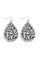 S22-2-4-E6922MS-BK-LEOPARD FILIGREE WOOD EARRINGS-SILVER BLACK/6PCS