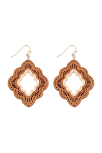 S22-11-5-E6924BRW - MOROCCAN WOOD LASER FILIGREE DROP EARRINGS - MATTE GOLD BROWN/6PAIRS