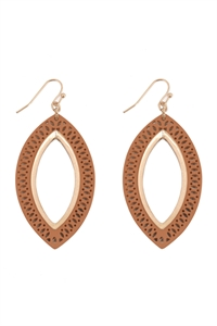 S22-11-5-E6925BRW - MARQUISE WOOD LASER FILIGREE EARRINGS - BROWN GOLD/6PAIRS