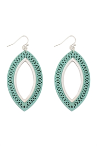 S22-11-5-E6925WS-TQS - MARQUISE WOOD LASER FILIGREE EARRINGS - TURQUOISE SILVER/6PAIRS