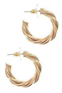 S1-2-2-LBE7322GD GOLD TWIST HOOP EARRINGS/3PAIRS