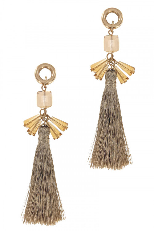 S1-6-4-LBE7392GD GOLD TASSEL WITH BEADS FASHION EARRINGS/3PAIRS