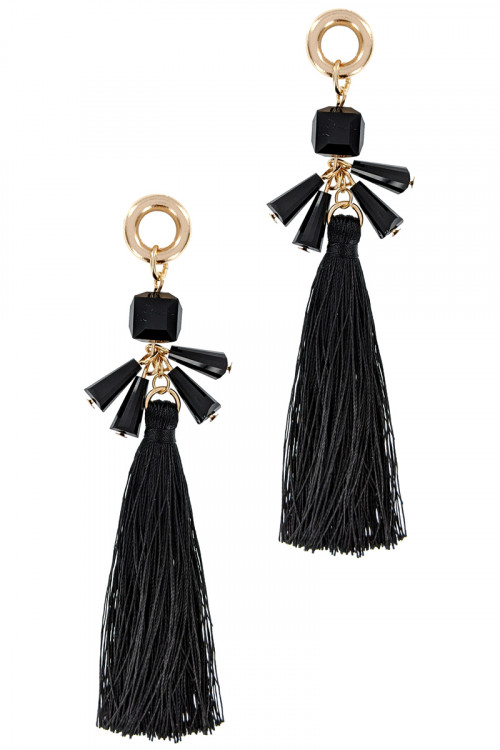 S1-6-4-LBE7392JT JET BLACK TASSEL WITH BEADS FASHION EARRINGS/3PAIRS