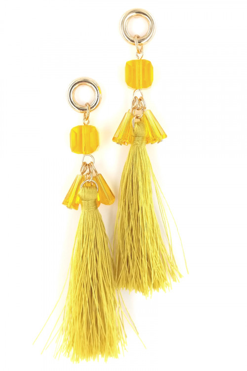 S1-6-4-LBE7392MS YELLOW MUSTARD COLOR TASSEL WITH BEADS EARRINGS/3PAIRS