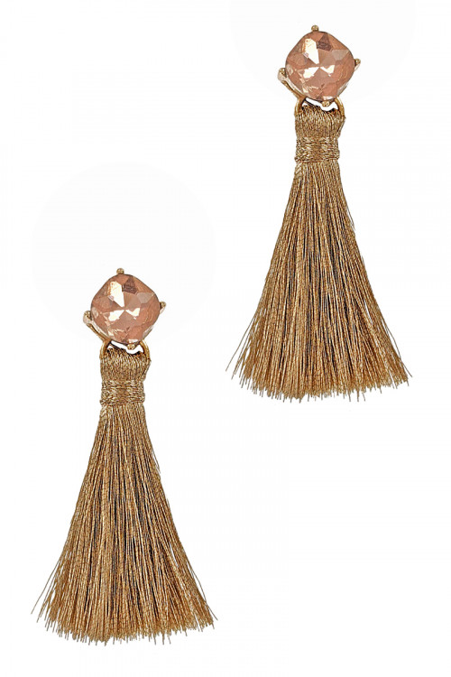S1-7-2-LBE7393NT NATURAL TASSEL DROP EARRINGS/3PAIRS
