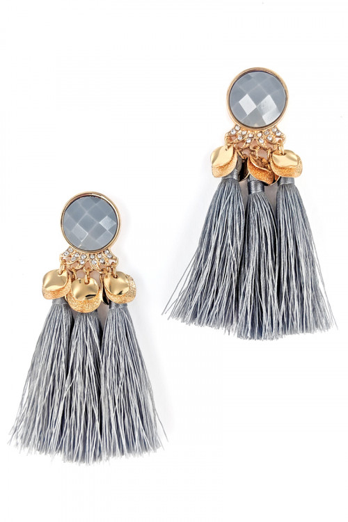 S1-3-3-LBE7407GR GREY TRIPPLE TASSEL FASHION EARRINGS/3PAIRS